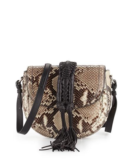 Altuzarra Ghianda Python Saddle Bag, Natural/Black