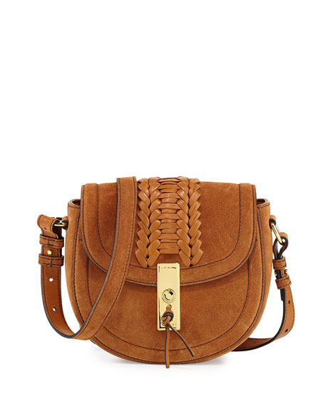Altuzarra Ghianda Mini Woven Suede Saddle Bag, Teak