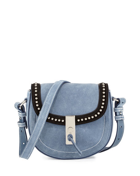 Ghianda Mini Studded Suede Saddle Bag, Denim