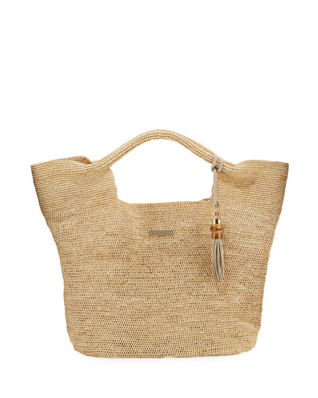 Grace Bay Raffia Beach Bucket Bag