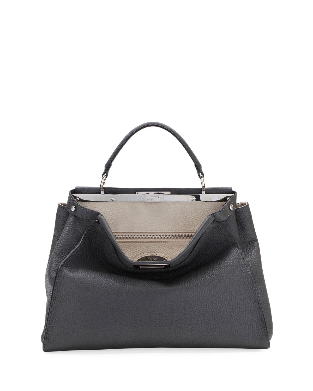 1867099eac4b Fendi Peekaboo Large Selleria Leather Top-Handle Bag