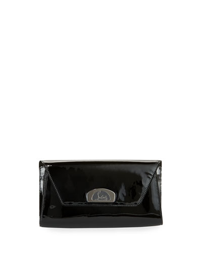 Vero Dodat Flap Patent Clutch Bag, Black