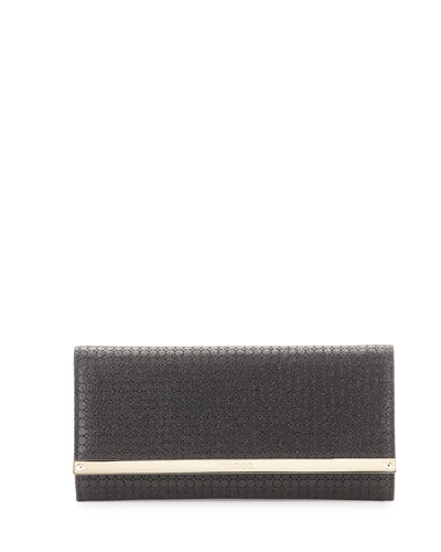 Milla Glitter Fabric Clutch Bag, Black