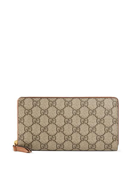 Gucci GG Supreme Zip-Around Wallet, Brown
