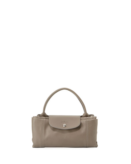 Le Pliage Cuir Medium Handbag with Strap