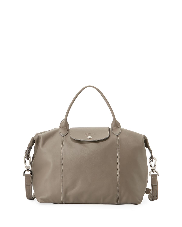Longchamp Le Pliage Cuir Medium Handbag with Strap  cd9bcd944ff06
