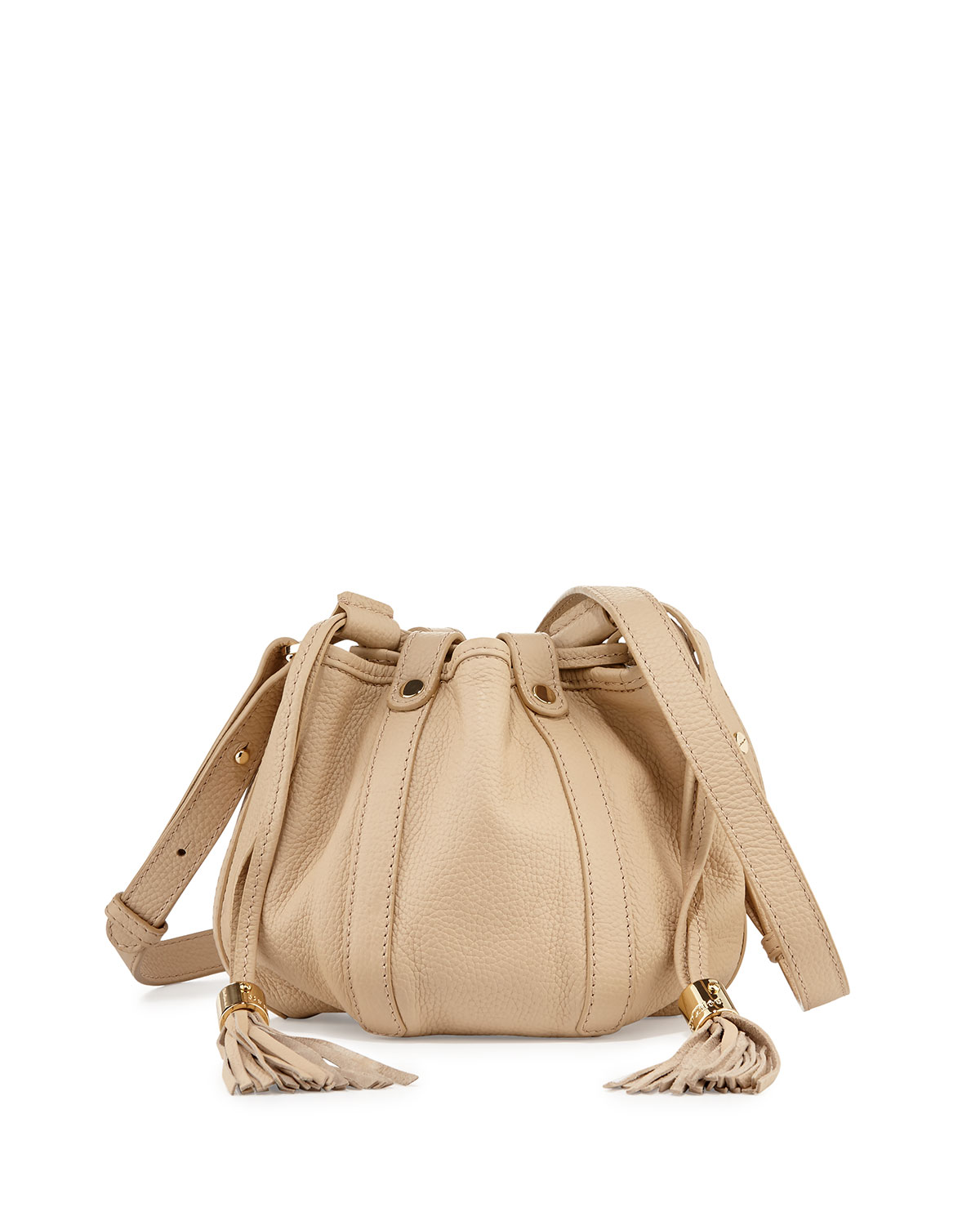Small Leather Drawstring Bucket Bag