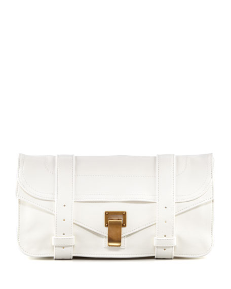 PS1 Pochette Lambskin Clutch Bag, White