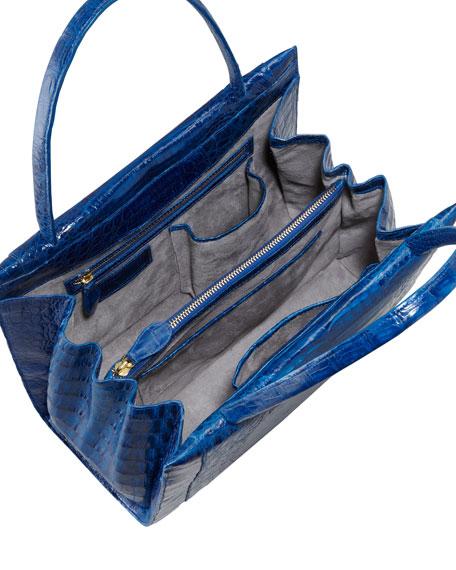 A-Frame Crocodile Satchel Bag, Medium