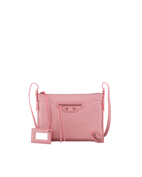 Papier Leather Crossbody Bag, Rose Anglaise