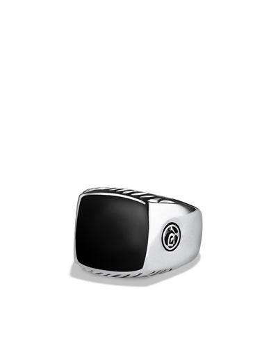 David Yurman Exotic Stone Large Band Ring with Black Onyx