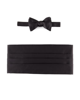 Neiman Marcus Self-Tie Satin Bow Tie & Cummerbund Set, Black