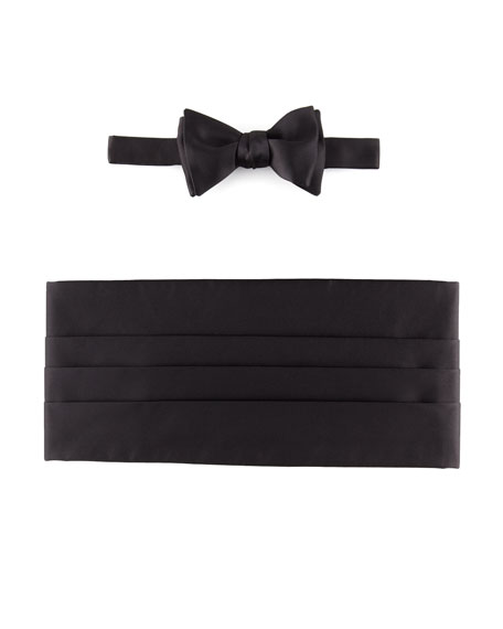 Self-Tie Satin Bow Tie & Cummerbund Set, Black