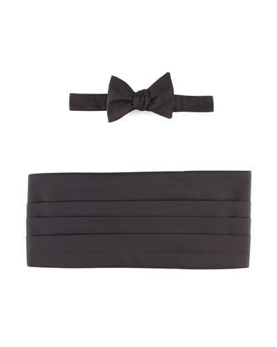 Neiman Marcus Self-Tie Faille Bow Tie & Cummerbund Set, Black