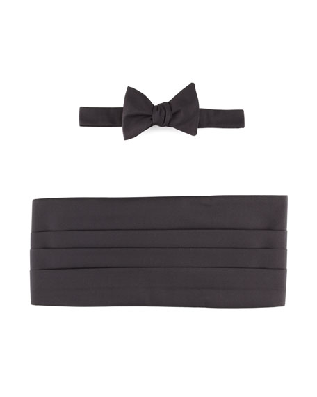 Self-Tie Faille Bow Tie & Cummerbund Set, Black