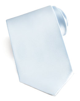 Brioni Solid Satin Tie, Light Blue