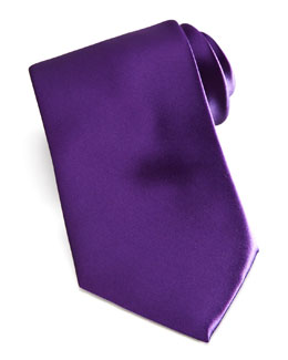 Brioni Solid Satin Tie, Royal