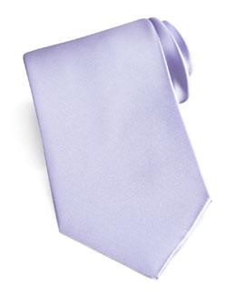 Brioni Solid Satin Tie, Lavender