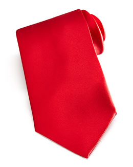 Brioni Solid Satin Tie, Red