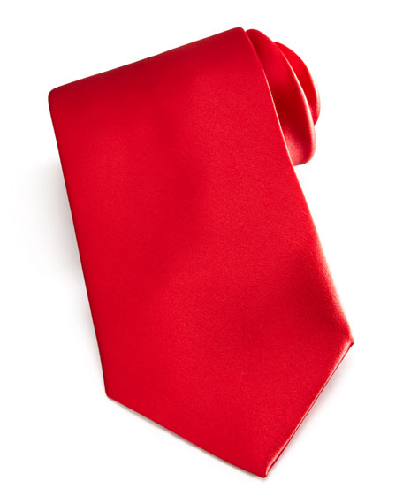 Solid Satin Tie, Red