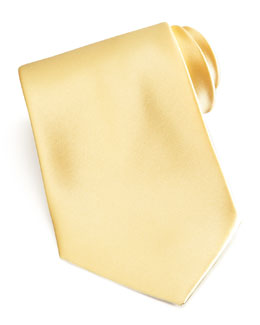 Brioni Solid Satin Tie, Butter