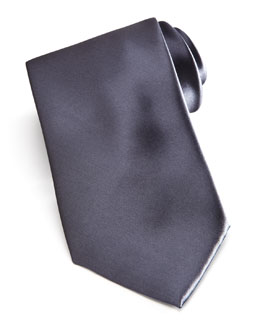 Brioni Solid Satin Tie, Charcoal