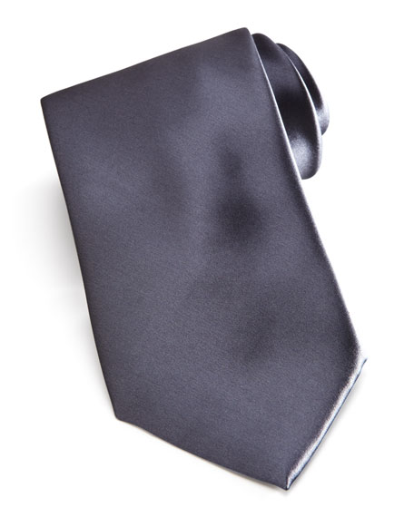 Solid Satin Tie, Charcoal
