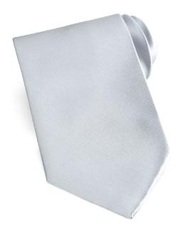 Brioni Solid Satin Tie, Silver