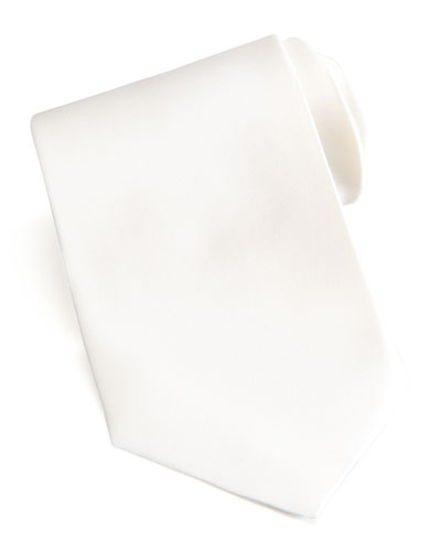 Brioni Solid Satin Tie, Off White