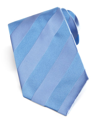 Brioni Self-Striped Tie, Blue