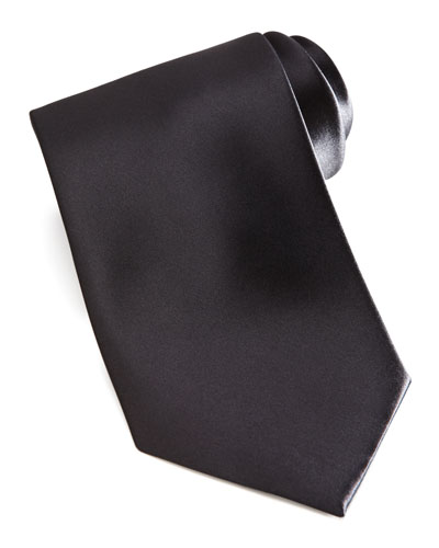 Brioni Solid Satin Tie, Black