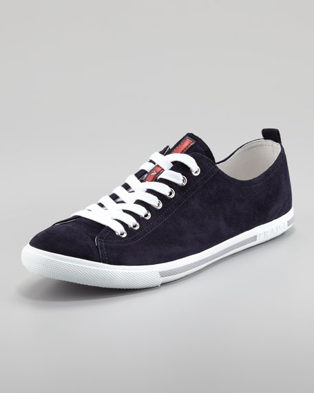 Suede Lace-Up Sneaker, Navy
