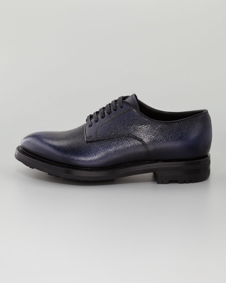 Textured Leather Lace-Up Shoe