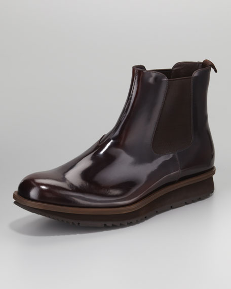 Spazzolato Wedge Boot, Brown
