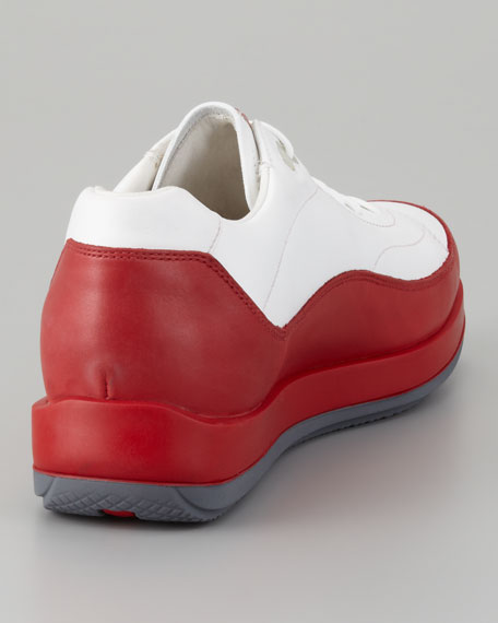 Leather Lace-Up Sneaker, White/Red