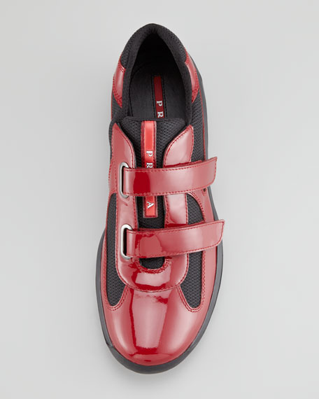 Patent Leather Grip-Strap Sneaker, Red