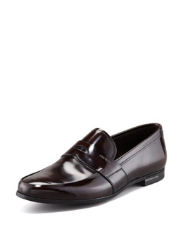 Prada Spazzolato Penny Loafer, Dark Brown