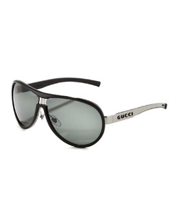 Gucci Enamel-Covered Aviator Sunglasses, Ruthenium/Black