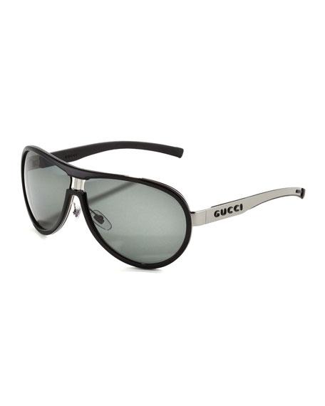 Enamel-Covered Aviator Sunglasses, Ruthenium/Black