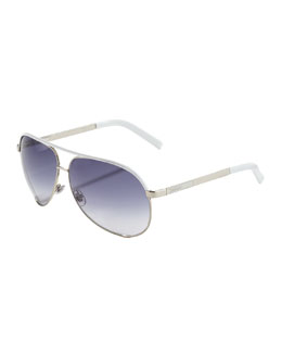 Gucci Metal Aviator Sunglasses, Palladium/White