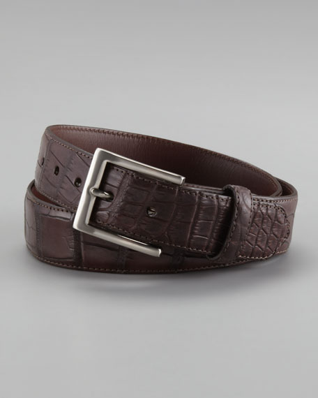 Matte Alligator Belt, Dark Brown