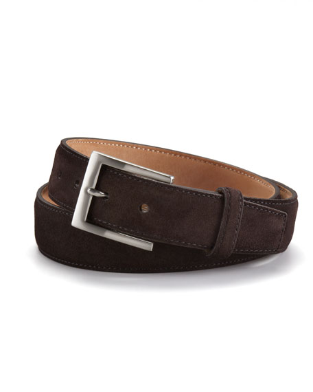 Suede Calf Belt, Dark Brown