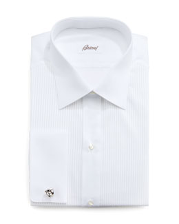 Brioni Barron Pleated Tuxedo Shirt, White