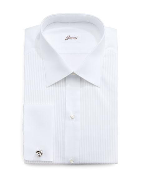 Barron Pleated Tuxedo Shirt, White