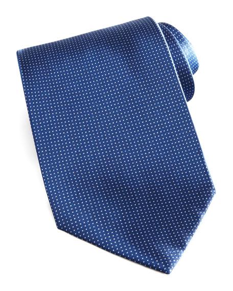 Micro-Dot Silk Tie, Navy