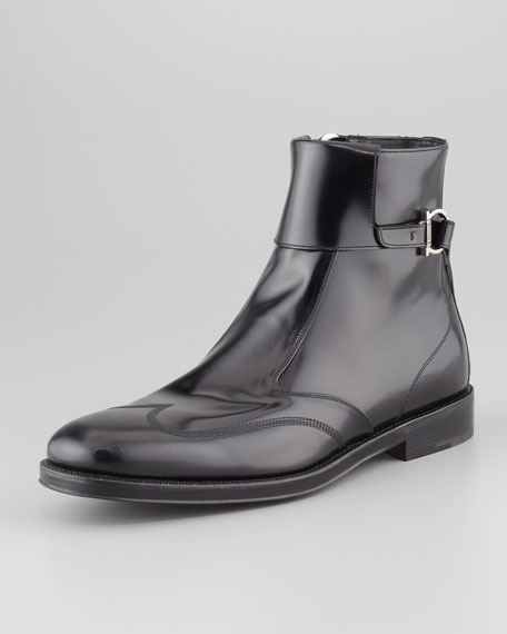 Auckland Wing-Tip Boot, Black