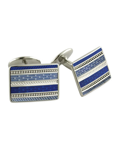 David Donahue Striped Rectangle Cuff Links