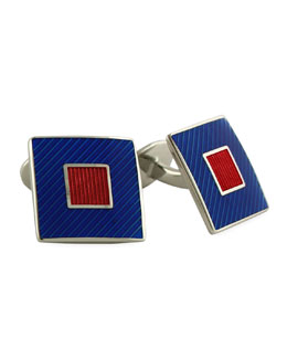 David Donahue Striped Square Cuff Links