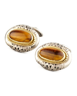 Konstantino Tiger's Eye Oval Cuff Links