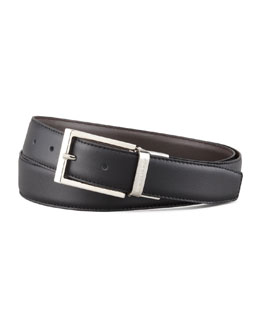 Ermenegildo Zegna Shiny Reversible Belt, Black/Dark Brown